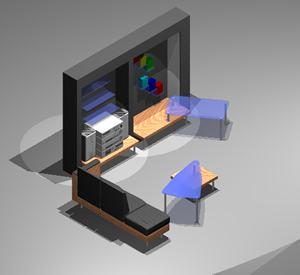 Planos de Living 3d con materiales aplicados, en Estanterías y modulares – Muebles equipamiento