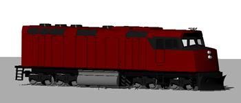 imagen Locomotora diesel 3d, en Ferrocarriles - Medios de transporte