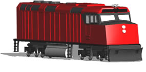 imagen Locomotora en 3d, en Ferrocarriles - Medios de transporte