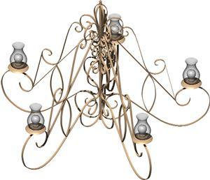 imagen Luminaria colgante 3d con materiales aplicados, en Luminarias - Muebles equipamiento
