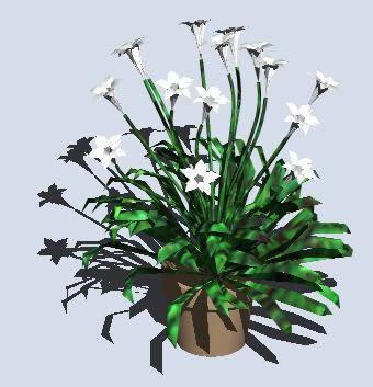 Planos de Maceta con flores 3d, en Arbustos en 3d – Arboles y plantas