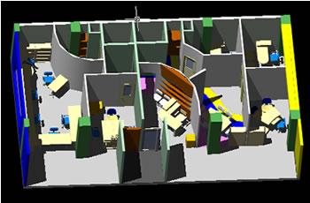 Planos de Maqueta 3d remodelacion de oficina, en Oficinas y laboratorios – Muebles equipamiento
