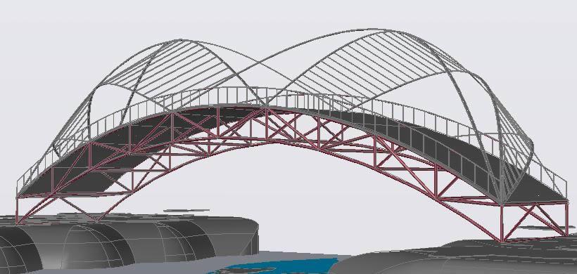 Planos de Maqueta de un puente 3d, en Puentes – Obras viales – diques