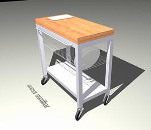 Mesa auxiliar 3 d con materiales aplicados, en Cocinas – Muebles equipamiento