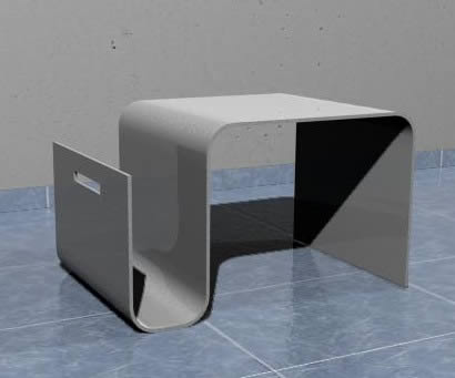 imagen Mesa auxiliar con revistero 42x61x36 cm., en Mesas y juegos de comedor 3d - Muebles equipamiento