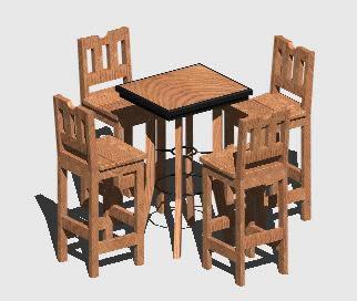 Planos de Mesa-bar 3d, en Bares y restaurants – Muebles equipamiento