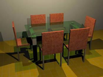 Mesa comedor 3d 6 puestos con sobre cristal, en Mesas y juegos de comedor 3d – Muebles equipamiento