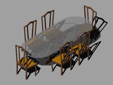 imagen Mesa con sillas 3d, en Mesas y juegos de comedor 3d - Muebles equipamiento