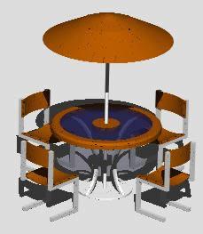 Planos de Mesa con sombrilla 3d, en Equipamiento – Parques paseos y jardines