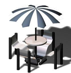 Mesa con sombrilla, en Bares y restaurants – Muebles equipamiento