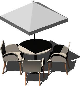 Planos de Mesa con sombrilla y sillas, en Equipamiento – Parques paseos y jardines
