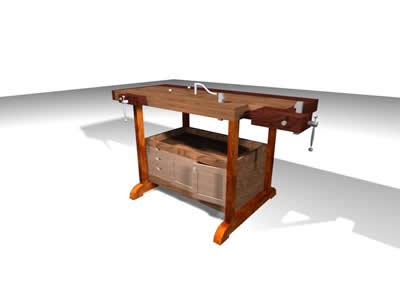 Planos de Mesa de carpintero 3d, en Herramientas – Obradores