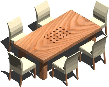 Planos de Mesa de comedor 3d para 6 personas, en Mesas y juegos de comedor 3d – Muebles equipamiento