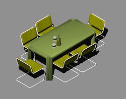 imagen Mesa de comedor con sillas 3d, en Mesas y juegos de comedor 3d - Muebles equipamiento