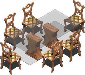 Planos de Mesa de comedor con tapa de vidrio y sillas 3d- con materiales, en Mesas y juegos de comedor 3d – Muebles equipamiento
