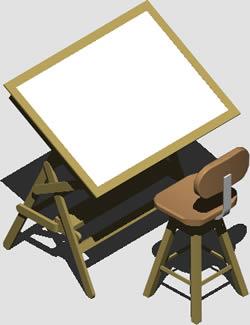 Planos de Mesa de dibujo, en Oficinas y laboratorios – Muebles equipamiento
