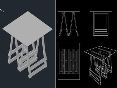 Planos de Mesa de madera 3d, en Mesas y juegos de comedor 3d – Muebles equipamiento