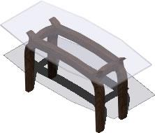 Planos de Mesa de madera con tapa de cristal – 3d, en Mesas y juegos de comedor 3d – Muebles equipamiento