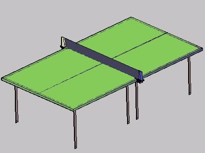 Planos de Mesa de poing pong en 3d, en Juegos – Muebles equipamiento