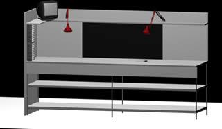 Mesa de trabajo en 3d, en Oficinas y laboratorios – Muebles equipamiento
