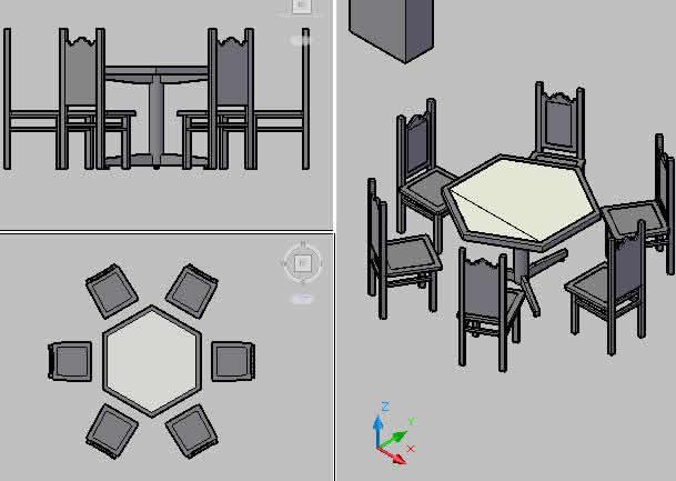 Planos de Mesa hexagonal comedor, en Mesas y juegos de comedor 3d – Muebles equipamiento