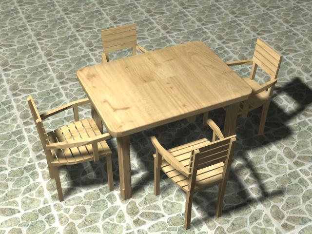 Mesa para terraza 90 x120 cm 4 sillas., en Mesas y juegos de comedor 3d – Muebles equipamiento