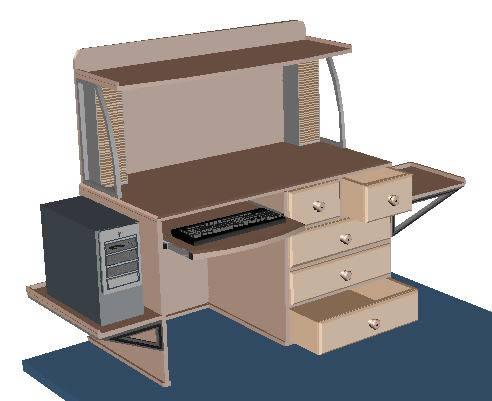 Planos de Mesa pc 3d, en Informática – Muebles equipamiento