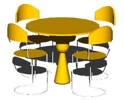 Planos de Mesa redonda 3d, en Mesas y juegos de comedor 3d – Muebles equipamiento