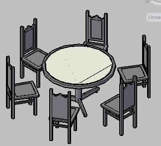 imagen Mesa redonda comedor, en Mesas y juegos de comedor 3d - Muebles equipamiento