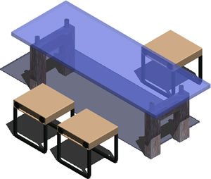Planos de Mesa y bancos 3d, en Mesas y juegos de comedor 3d – Muebles equipamiento