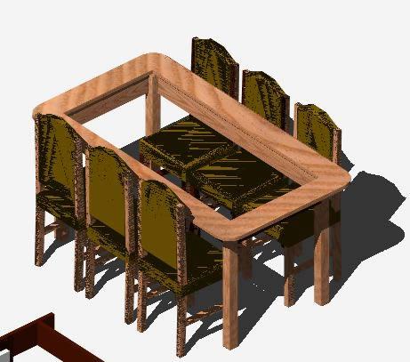 Planos de Mesa y sillas 3d, en Mesas y juegos de comedor 3d – Muebles equipamiento