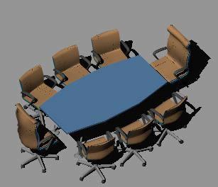 Planos de Mesa y sillas de oficina 3d, en Oficinas y laboratorios – Muebles equipamiento