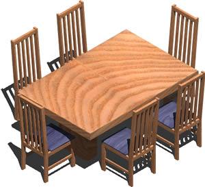 Planos de Mesa y sillas decomedor 3d con materiales aplicados, en Mesas y juegos de comedor 3d – Muebles equipamiento