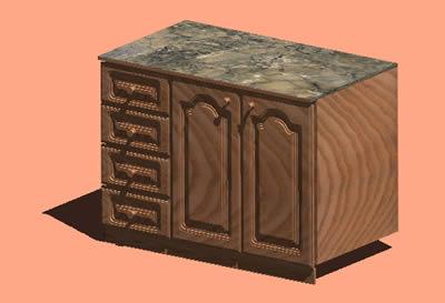 Planos de Mesada con cajoneras 3d con materiales aplicados, en Baños – Muebles equipamiento