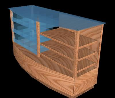 Planos de Mesada para uso de un bar con divisores de vidrio, en Estanterías y modulares – Muebles equipamiento