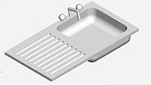 imagen Mesada y pileta para lavar copas 3d, en Cocinas - Muebles equipamiento