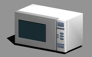 Planos de Microondas 3d con materiales aplicados, en Electrodomésticos – Muebles equipamiento