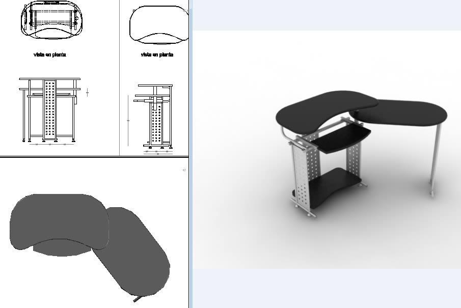 Planos de Mobiliario de computo moderno, en Escritorios – Muebles equipamiento