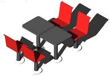 Planos de Mobiliario: modulo cuadruple sillas y mesas – p/estaciones de servicios 3d, en Bares y restaurants – Muebles equipamiento