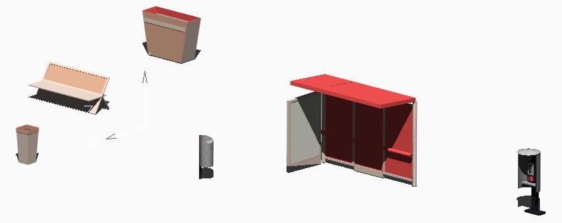 Planos de Mobiliario urbano 3d, en Equipamiento de parques paseos y plazas – Equipamiento urbano