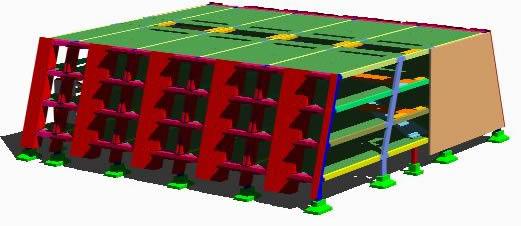 Planos de Modelo 3d de despiece de modulo de 48 habitaciones prefabircado, en Prefabricados de hormigón – Sistemas constructivos