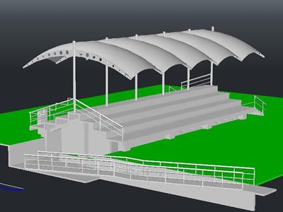 Planos de Modelo 3d de gradería con sanitarios., en Equipamiento de parques paseos y plazas – Equipamiento urbano