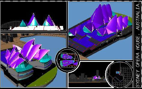 Planos de Modelo 3d del opera de sydney; australia, en Obras famosas – Proyectos