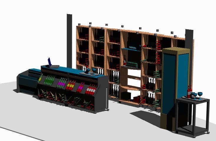 imagen Modelo 3d stand modular vinoteca, en Supermercados y tiendas - Muebles equipamiento