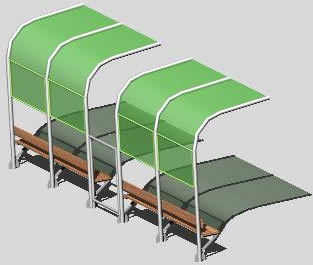 Planos de Modelo de parada urbana, en Transferencia peatón – vehículo paradores – Equipamiento urbano