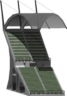 Planos de Modulo de graderia 3d con cubierta para estadio, en Proyectos estadios – Deportes y recreación