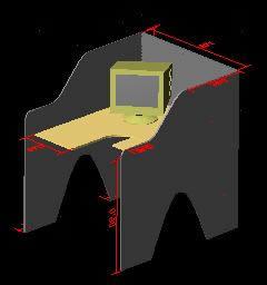 Planos de Módulo de trabajo 3d, en Oficinas y laboratorios – Muebles equipamiento