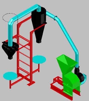 Planos de Molino 3d, en Industria minera – Máquinas instalaciones