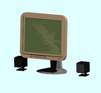 Planos de Monitor con bocinas 3d, en Oficinas y laboratorios – Muebles equipamiento