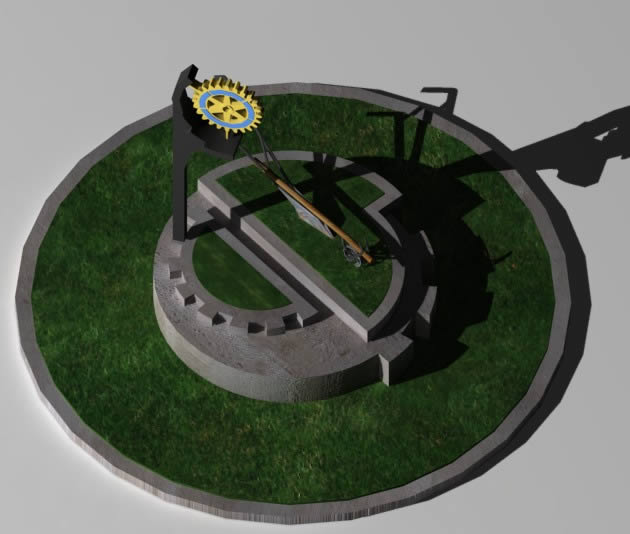 Planos de Monolito rotary club 3d, en Equipamiento – Parques paseos y jardines